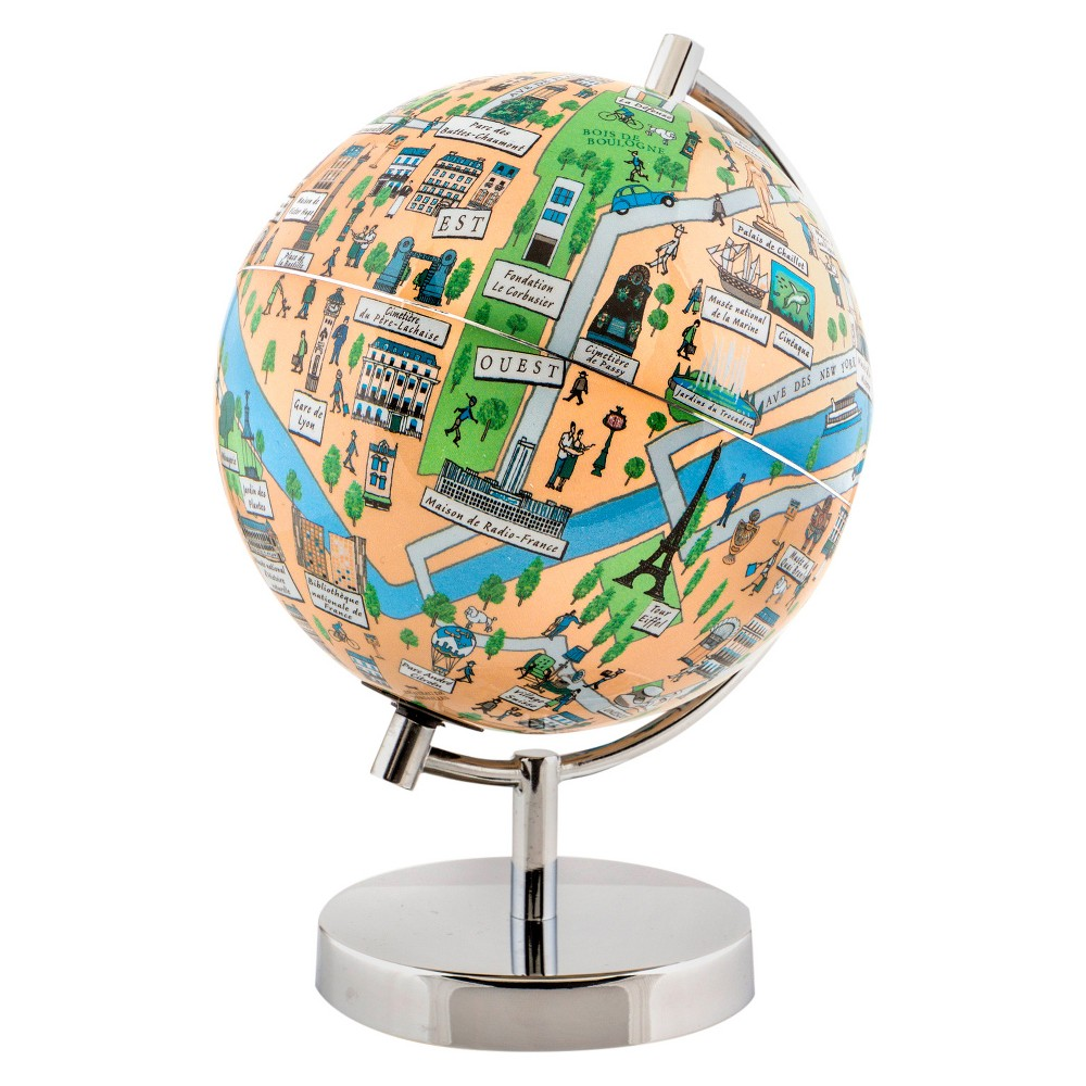 Globee Paris 9 Illustrated Globe, Multi-Colored See Paris at night in the form of an illuminated globe. The Paris Night Light Globe is 9-inches in diameter and comes with a chrome silver stand. The globe depicts all the major landmarks and tourist sites of the city as well as the major streets and some of the famous characters associated with it and includes a 16 page informational booklet. Makes a wonderful gift or addition to any room. This globe is illuminated using Led lights within the globe and powered by Aaa batteries which are not included. You will never need to replace a light bulb! Color: Multi-Colored. Age Group: Adult.