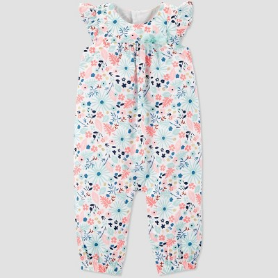 Baby Girls' Floral Jumpsuit - Just One You® made by carter's White/Pink Newborn