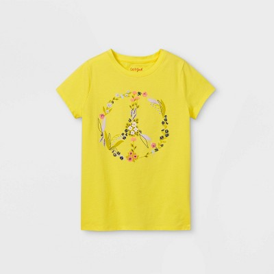 Girls' Floral Peace Graphic Short Sleeve T-Shirt - Cat & Jack™ Yellow