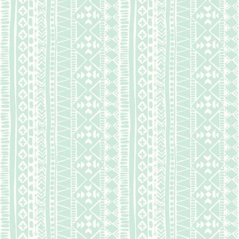 Tribal Peel & Stick Wallpaper Teal - RoomMates - image 1 of 4