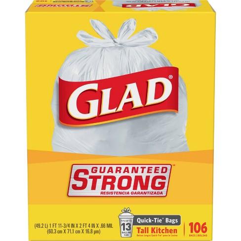 Glad Tall Kitchen White Trash Bags 13 Gallon 106ct Target