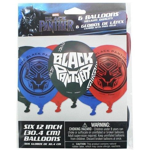 """Amscan Marvel Black Panther 12"""" Party Balloons, 6-Pack - image 1 of 1"""