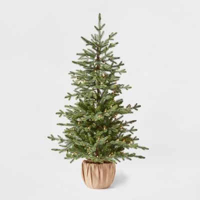 4.5ft Pre-lit Potted Balsam Fir Artificial Christmas Tree Clear Lights - Wondershop™