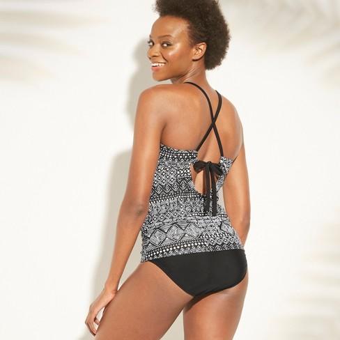 0f71980e52e34 Women's Keyhole High Neck Shirred Tankini Top - Kona Sol™ Black Tribal  Print XL : Target