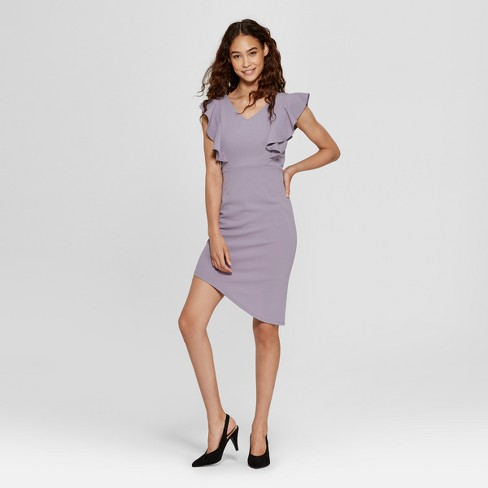Women's Bodycon Mini Dress with Ruffle Detail - Vanity Room Lilac - image 1 of 2