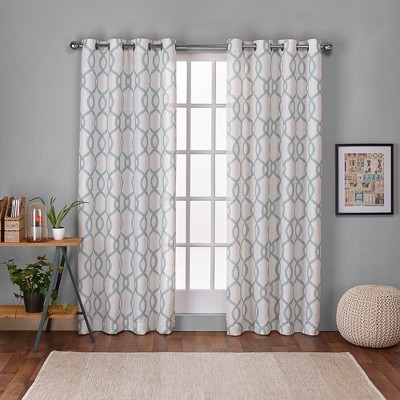 Kochi Linen Blend Grommet Top Window Curtain Panel Pair Sea Foam (54 x96 )- Exclusive Home™ Seafoam