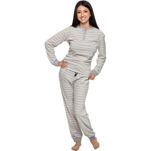 Silver Lilly - Women's 2-Piece Fleece Striped Pajama Set - image 1 of 4
