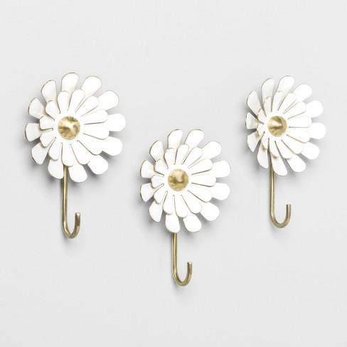 "4.6"" X 1.6"" 3pk Decorative Enamel Flower Wall Hook Set White - Opalhouse™ : Target"