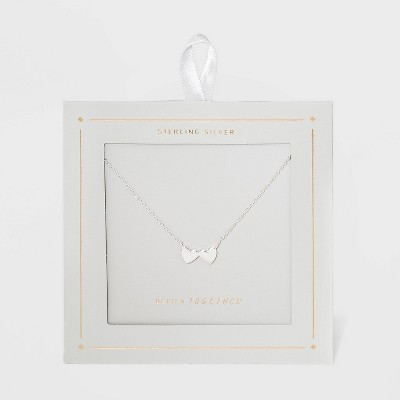Sterling Silver Double Heart Necklace - Silver
