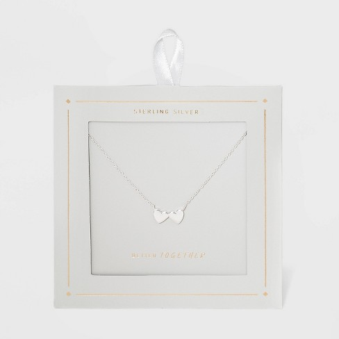 Sterling Silver Double Heart Necklace - Silver - image 1 of 3