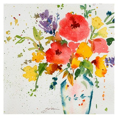 White Vase with Bright Flowers' by Sheila Golden Ready to Hang Canvas Wall Art