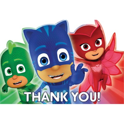 Birthday Express PJ Masks Thank You Cards -  8 Pack