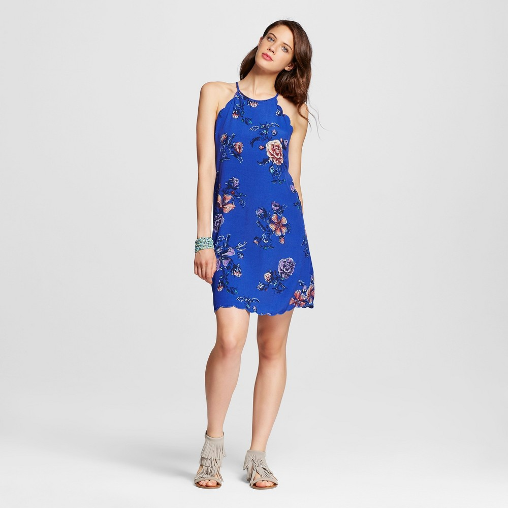 Women's Scallop High-neck Shift Dress - Xhilaration Dazzling Blue M