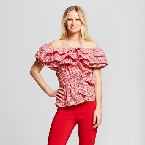 51e4003698fb9c Women s Gingham Seersucker Ruffle Bardot Top - Who What Wear™ Red XL ...