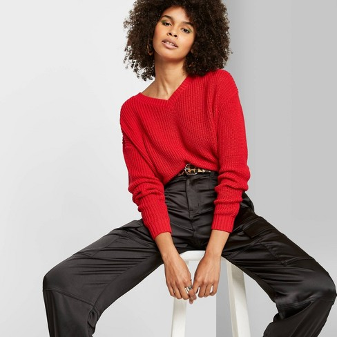 Women's Long Sleeve V-Neck Cropped Sweater - Wild Fable™ Red Pop - image 1 of 3