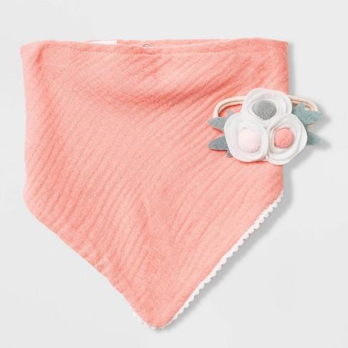 Baby Girls' 2pk Bandana Bib & Headwrap Set - Cloud Island™ Pink One Size - image 1 of 1