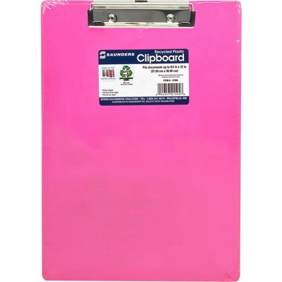 """Saunders Plastic Clipboard Letter Holds 1/2"""" of Paper Neon Pink 21594"""