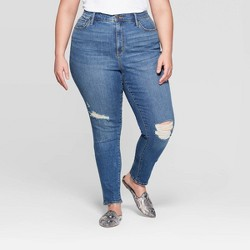 Women's Plus Size High-Rise Distressed Cuffed Skinny Jeans - Universal Thread™ Medium Wash