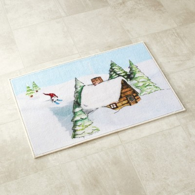 Lakeside Winter Holiday Bathroom Gnome Rug with Nonslip Backing for Stability