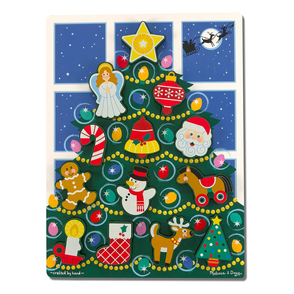 Melissa & Doug Holiday Christmas Tree Wooden Chunky Puzzle (13pc)