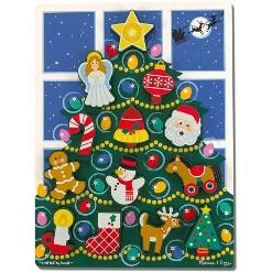 Melissa & Doug Holiday Christmas Tree Wooden Chunky Puzzle (13pc)