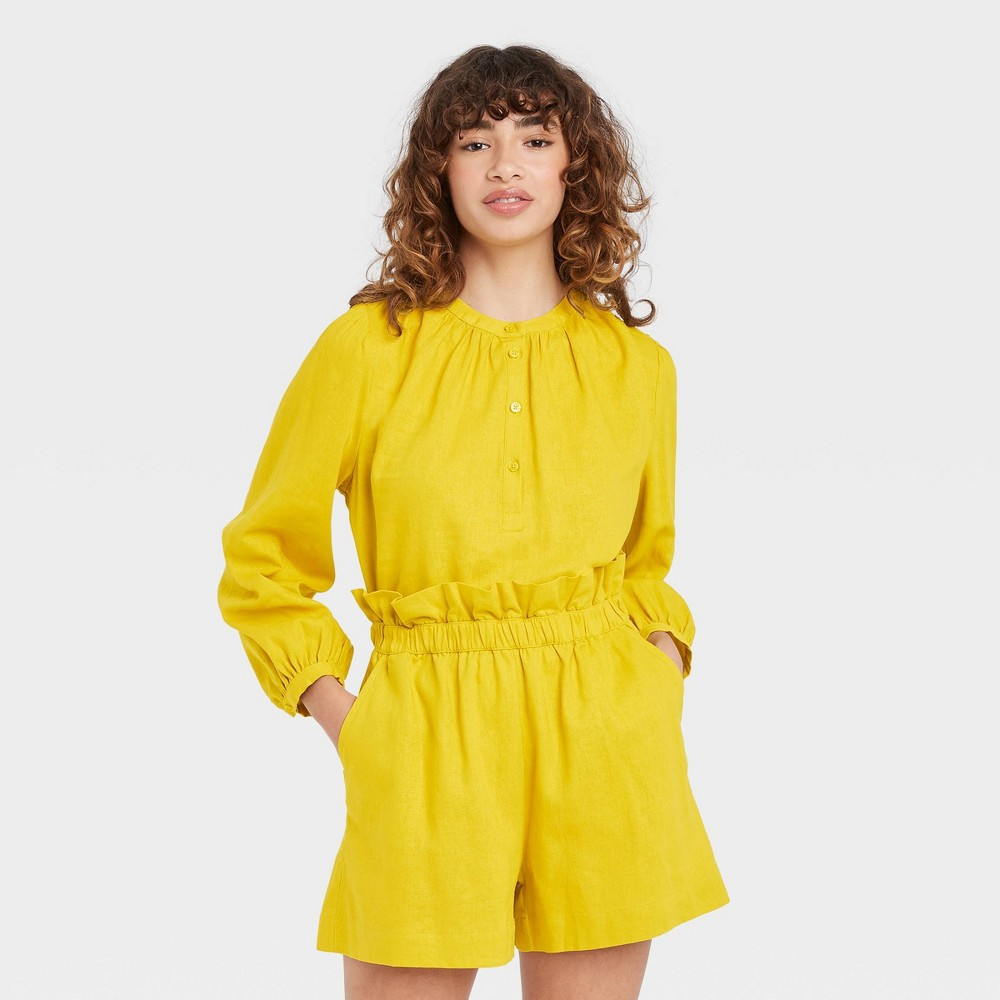 Women 39 S Balloon Long Sleeve Top Who What Wear 8482 Yellow S