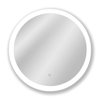 "22""x22"" Premium Lumen Single Round Frameless Wall Mirror with Dimmable LED and Anti Fog Glass - Tosca"