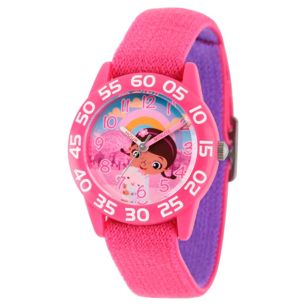 Girls' Disney Doc McStuffins, Lambie Pink Plastic Time Teacher Watch - Pink, Purple