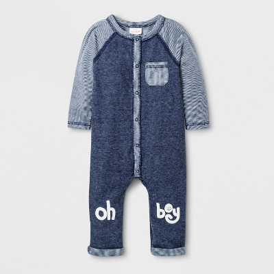 Baby Boys'  Oh Boy  Long Sleeve Romper - Cat & Jack™ Navy Blue Newborn