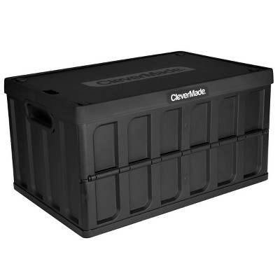 CleverMade 62L Storage Bin With Lid Black