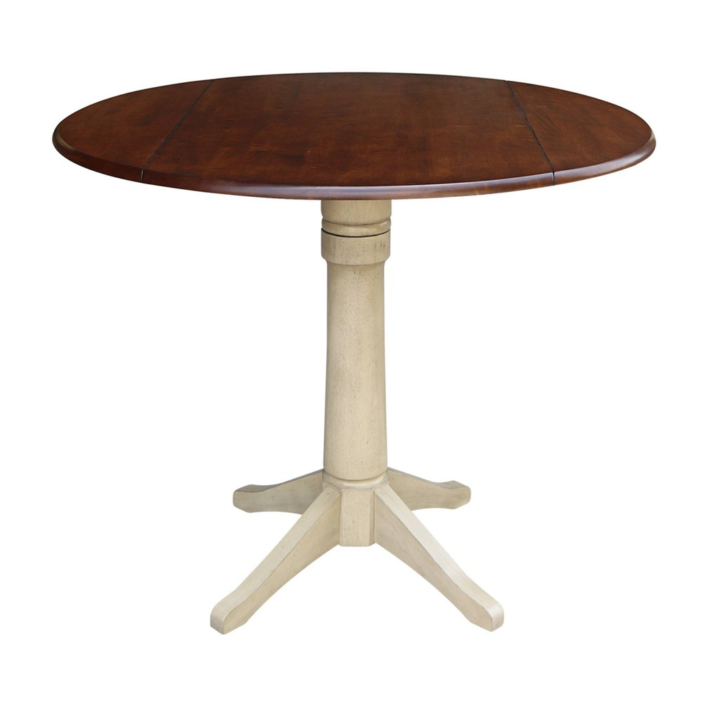 42 Rene Round Dual Drop Leaf Table Almond/Espresso - International Concepts, Multicolored