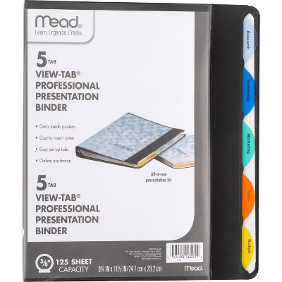 """1.1"""" View-Tab Presentation Ring Binder with Flexible Cover 8.5"""" x 11"""" Black - Mead"""