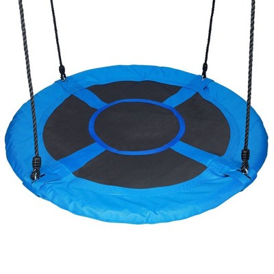 Swinging Monkey Giant 40 Inch 400 Pound Weight Capacity Comfortable Webbed Fabric Outdoor Family Play Saucer Swing, Blue