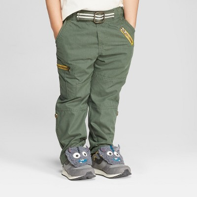 Genuine Kids® from Oshkosh Toddler Boys' Cargo Pants with Built in Belt - Green 18M