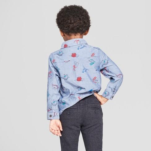 9427895c Toddler Boys' Long Sleeve Dinosaur Print Button-Down Shirt - Cat & Jack™  Blue