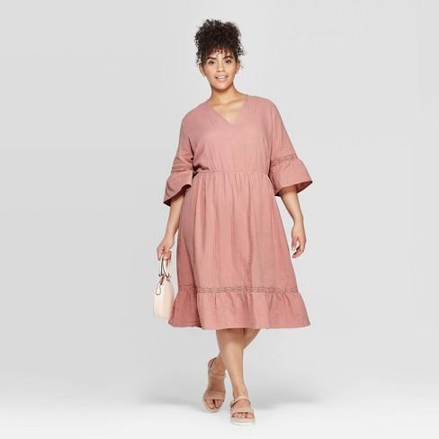Women\'s Plus Size Elbow Sleeve V-Neck Crochet Trim Dress - Ava & Viv ...