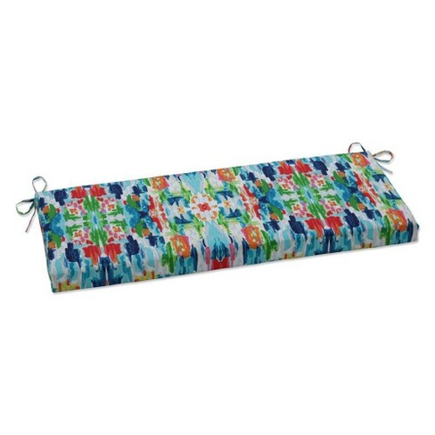 "45"" x 18"" Outdoor/Indoor Bench Cushion Abstract Reflections Multi Blue - Pillow Perfect - image 1 of 1"