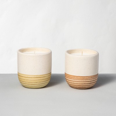 2pk Small Ceramic Candle Lemon & Redwood - Hearth & Hand™ with Magnolia