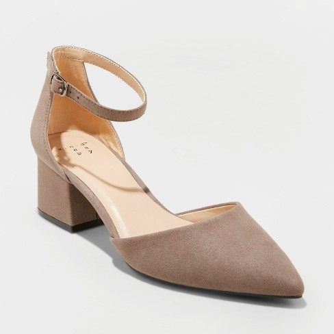 ca4c5852db6 Women's Natalia Wide Width Microsuede Pointed Toe Block Heeled Pumps - A  New Day™ Taupe 12W
