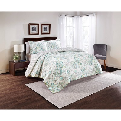 3pc Floral Carlisle Reversible Comforter Set - Marble Hill