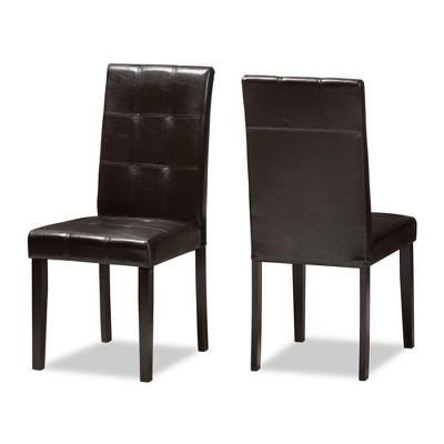 Set of 2 Avery Modern And Contemporary Faux Leather Upholstered Dining Chairs Dark Brown - Baxton Studio