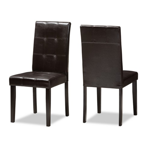 Set of 2 Avery Modern And Contemporary Faux Leather Upholstered Dining Chairs Dark Brown - Baxton Studio - image 1 of 4