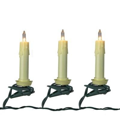 Kurt S. Adler Set of 10 Clip-on White Tapper Candle Light String Set - Green Wire