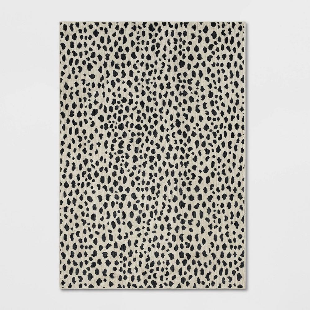 Leopard Spot Woven Area Rug Black/White
