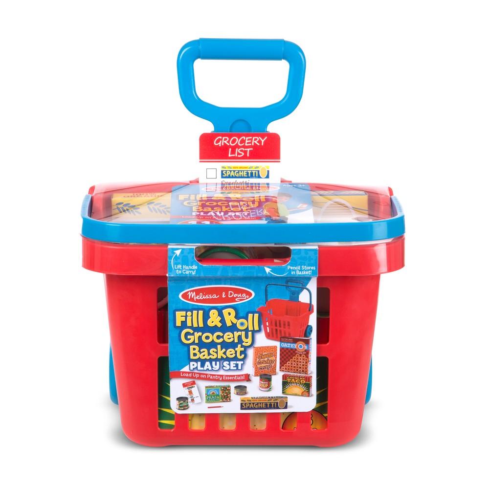 Melissa Doug Fill Roll Grocery Basket Playset