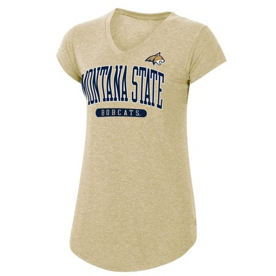 NCAA Montana State Bobcats Women's Short Sleeve V-Neck Tan T-Shirt