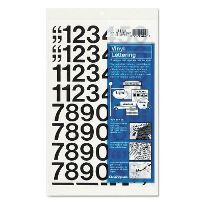 "Chartpak Press-On Vinyl Numbers Self Adhesive Black 1""h 44/Pack 01130"
