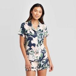 Women's Floral Print Beautifully Soft Notch Collar Pajama Set - Stars Above™ Blue