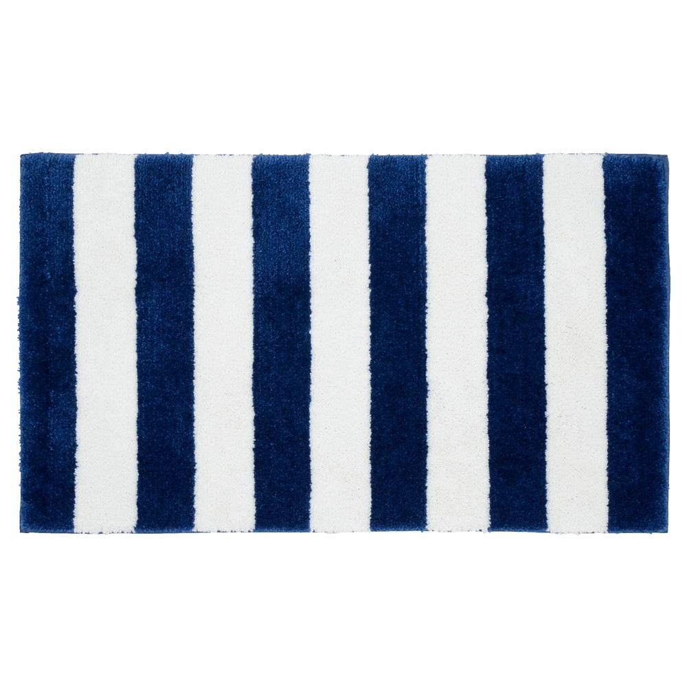 "Image of ""21""""x34"""" Beach Stripe Bath Rug Indigo Blue/White - Garland"""