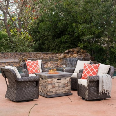 Ariel 5pc Wicker Rocking Chairs and Fire Pit Set - Dark Brown/Beige - Christopher Knight Home